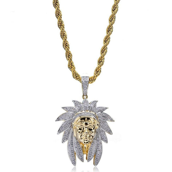Iced Out Indian Chief Head Pendant & Necklaces
