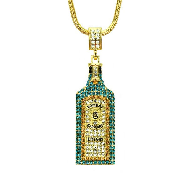 Big Wine bottle Necklaces Full Rhinestone Iced Out Pendants Awesome Gift