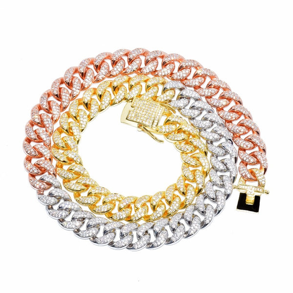 Mixed Color 12mm Cuban Chain Gold Silver Copper CZ