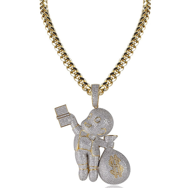 Iced Out CZ Dollar Gangster kid Pendant Necklace Chain