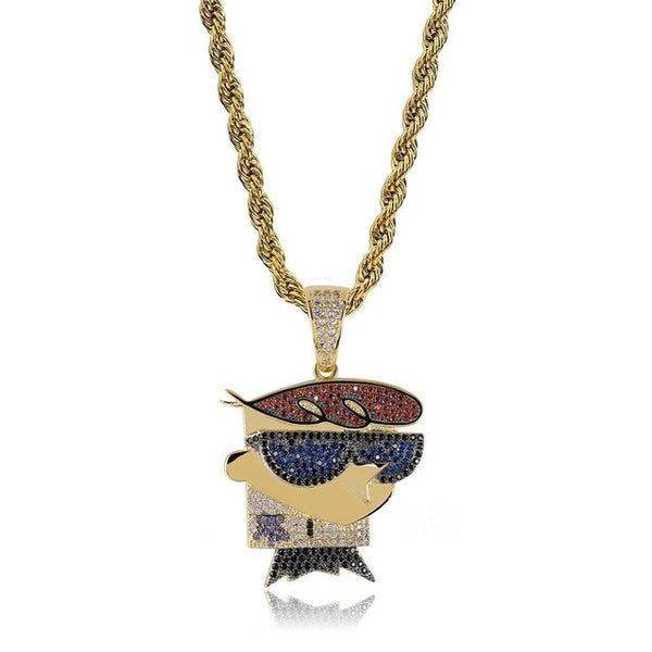 DEXTER Pendant Necklace Iced Out CZ