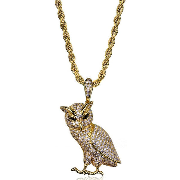 "Iced Out Owl Pendant Necklaces 24"" Stainless Steel Rope Chain"