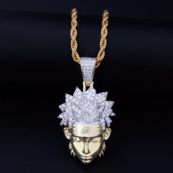 Naruto Pendant Necklace With Gold Link Chain