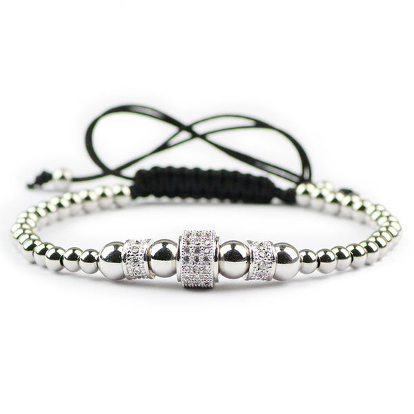 Handmade Bracelet 4mm Stainless Steel Beads Micro Zircon