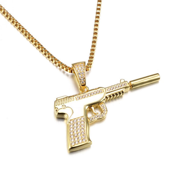 Pistol Gun Pendant Necklaces For Men Silver/Gold Color