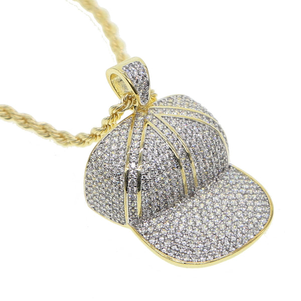 New Arrival Cool hat Iced Out Necklace