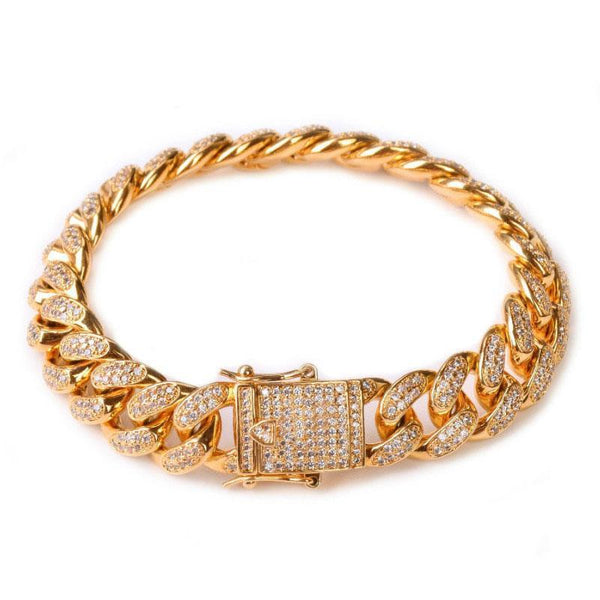 Heavy Iced 12MM Curb Cuban Link Bracelet Gold Or Silver