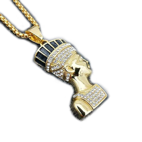Iced Out Egyptian pharaoh with 24inch Rope chain