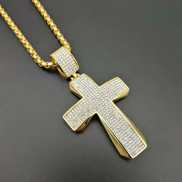 "Cross Pendant Necklace 316L Stainless Steel with 24"" Gold Chain"