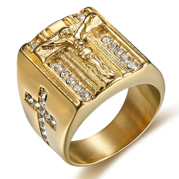 Gold Titanium 3D Christ Rings