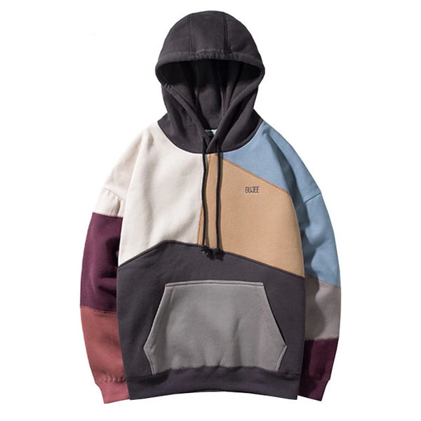 Patchwork Fleece Hoodies Hip Hop Fashion