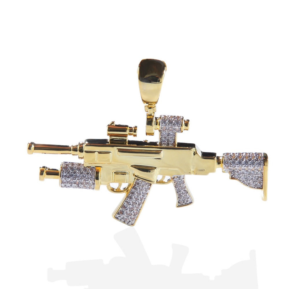 Bling Ice Out Sniper Rifle CS GO Gun Pendants Necklace for Men