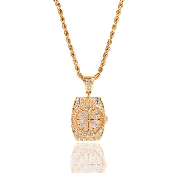 CZ Stones Bling Ice Out Watch Shape Pendants Necklace for Men