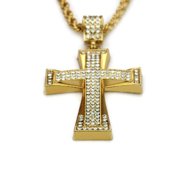 Religious Iced Out Crystal Cross Pendant Necklace