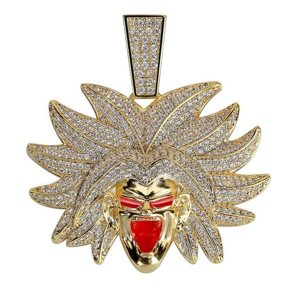 Dragon Ball Broly Pendant Necklace Iced Out Cubic Zircon