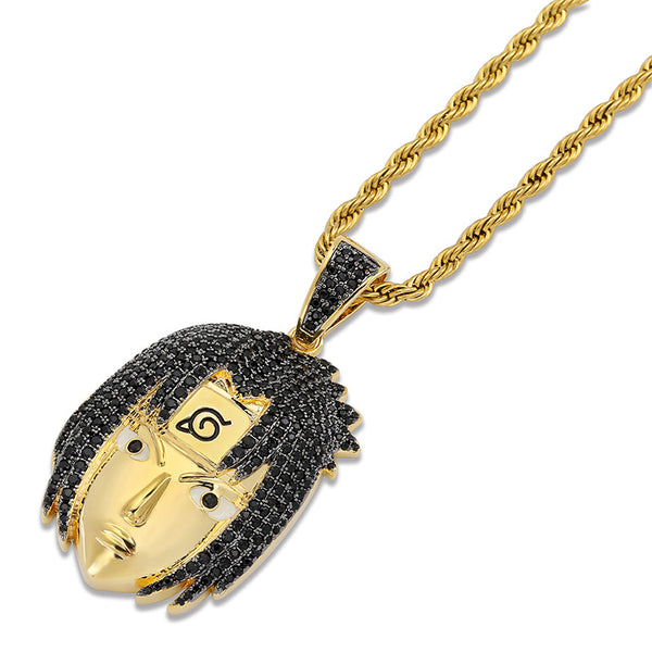 Bling Bling Iced Out Cartoon Naruto Uchiha Sasuke Pendants Necklace