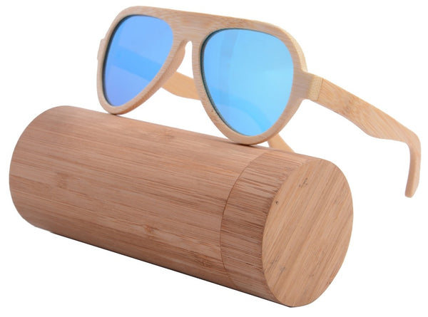 Awesome Wood Ice Blue Sunglasses