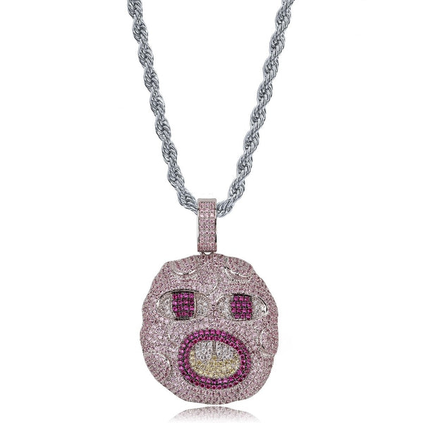 Iced Out Emoji Pendant Necklace