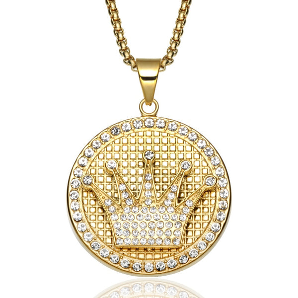 Bling Bling Iced Out Cubic Zirconia Crown Necklaces