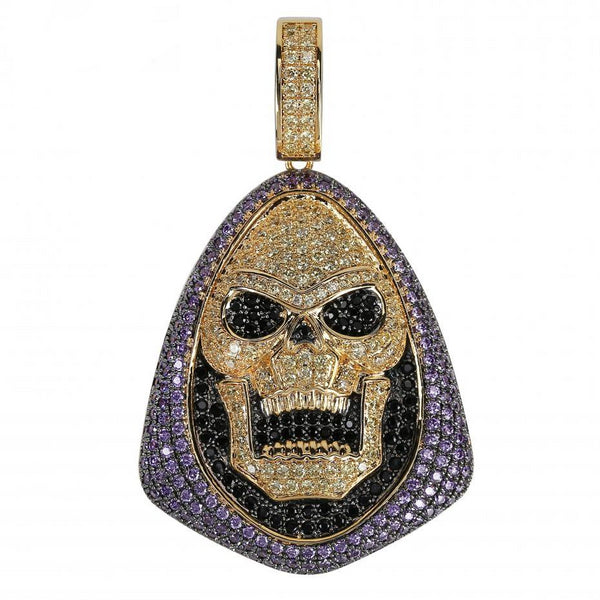 Iced Out Skeletor Pendant Necklace With Tennis Chain Copper