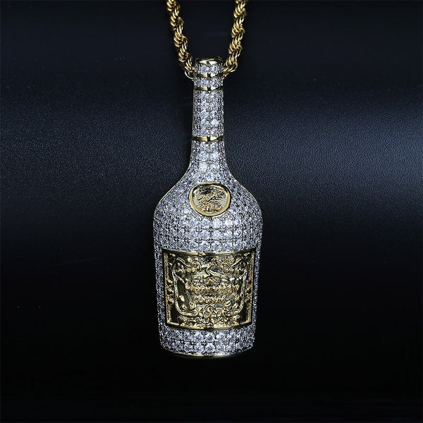 Champagne Bottle Pendant With Tennis Chain Perfect Gift