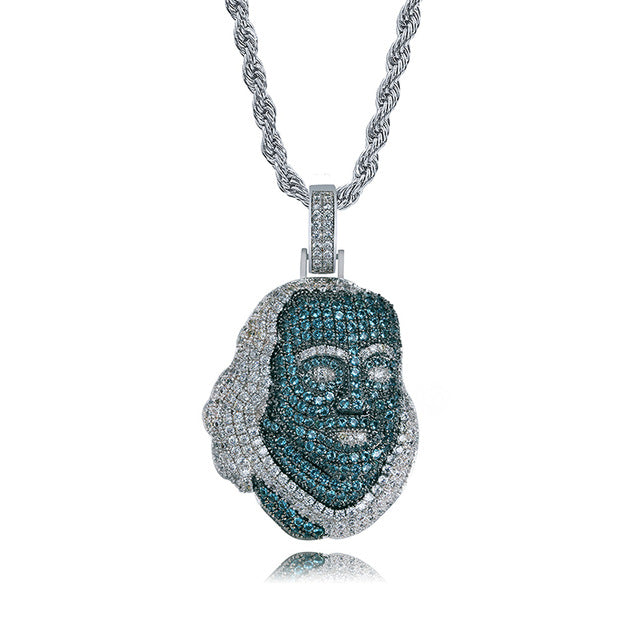 ICED OUT Blueface Benjamin Pendant With Tennis Bling Chain Street Culture