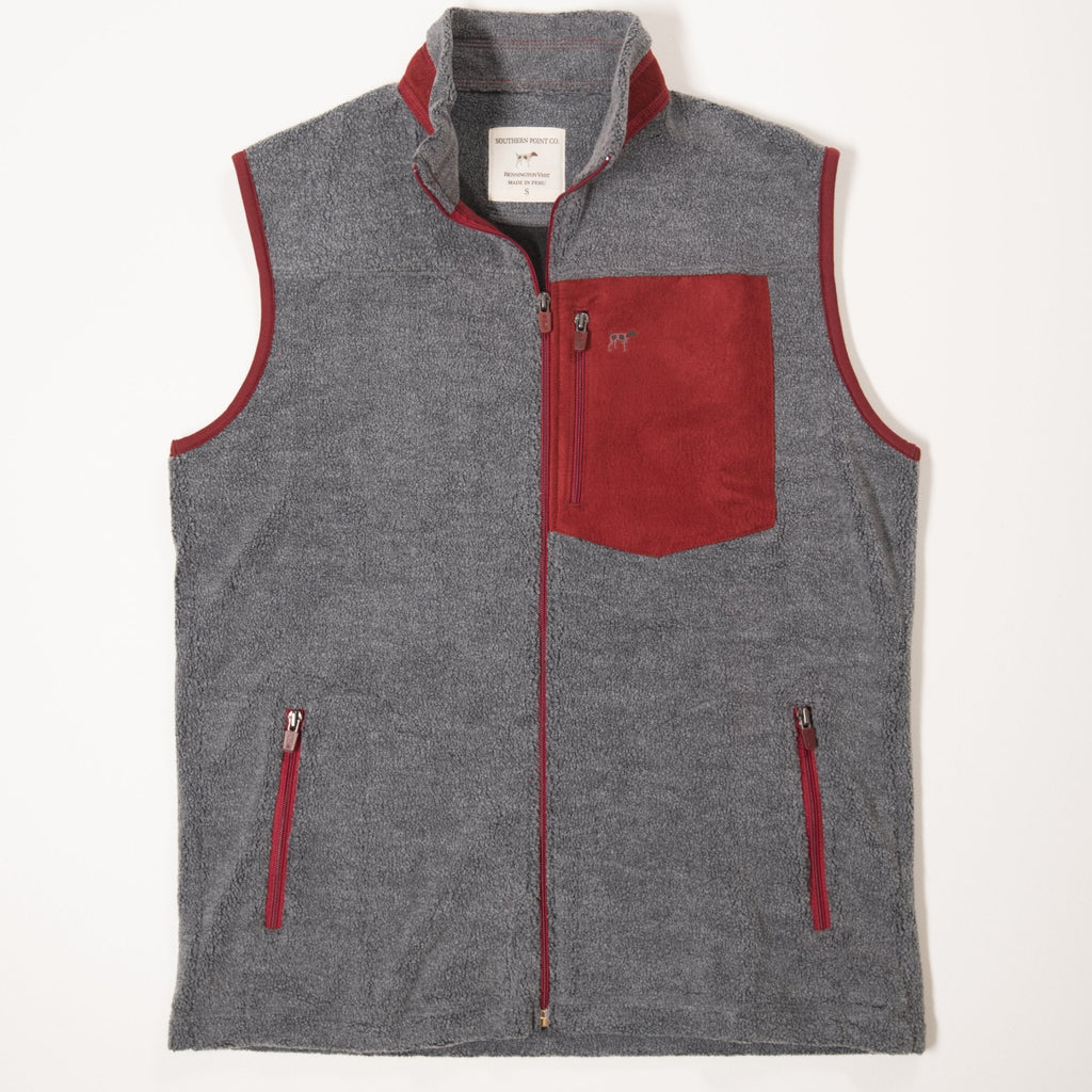 Youth Grey & Red Bennington Vest
