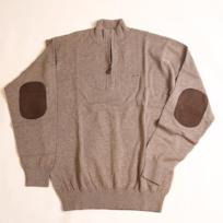 Camel Hayward Quarter Zip with Elbow Patches