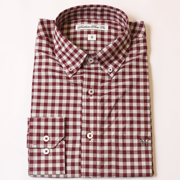 Maroon & Grey Tradition Button Down