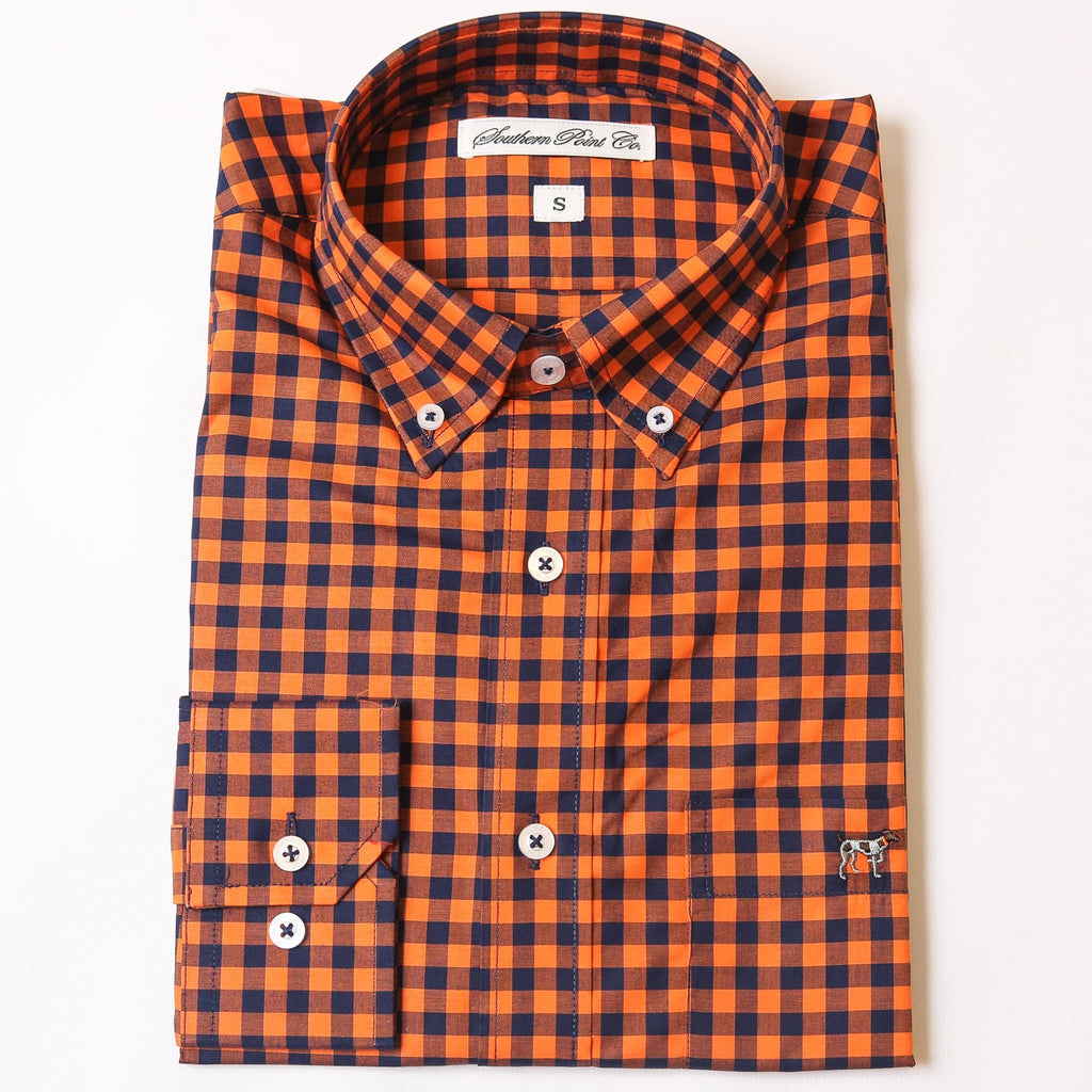 Navy & Orange Tradition Button Down
