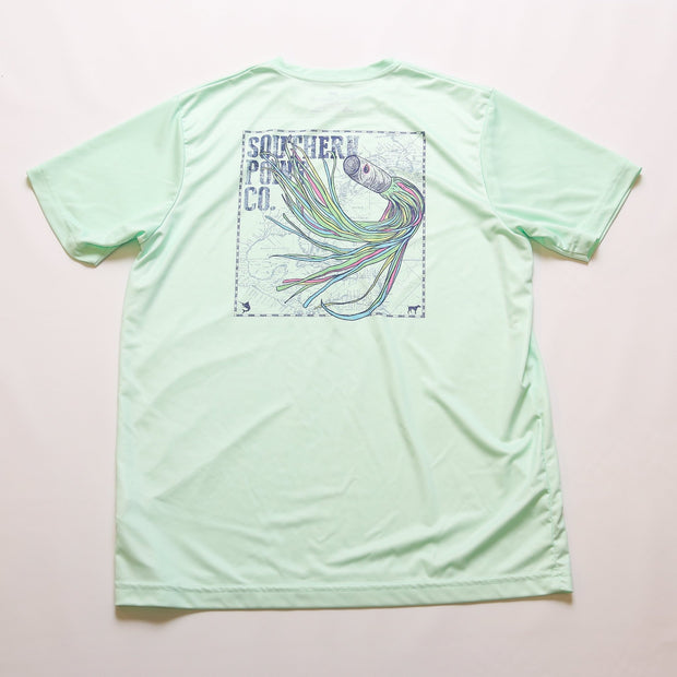 Fishing Lure Dry Fit UPF Tee - Beach Glass