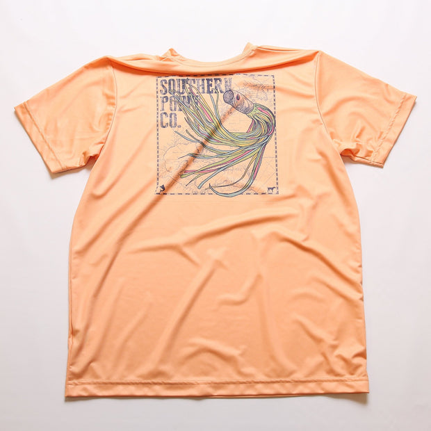 Fishing Lure Dry Fit UPF Tee - Papaya