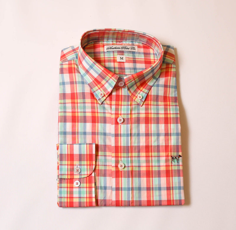 Bright Coral Plaid