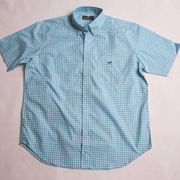 Inlet Blue Gingham Short Sleeve