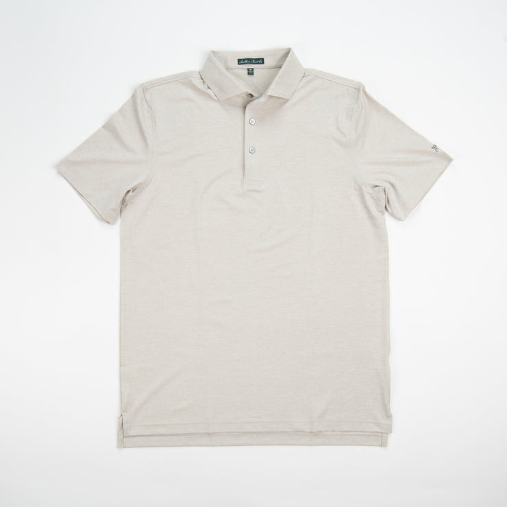 Youth Heathered Oxford Tan Performance Polo