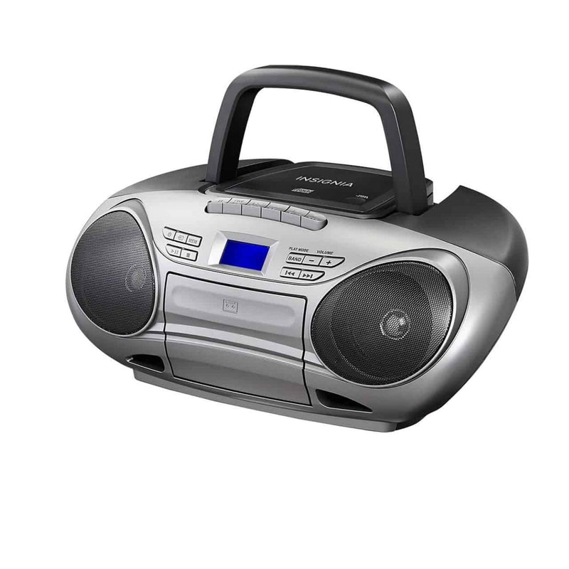 Insignia - CD/Cassette Boombox with AM/FM Radio - Black/Gray - Dmg Electronics