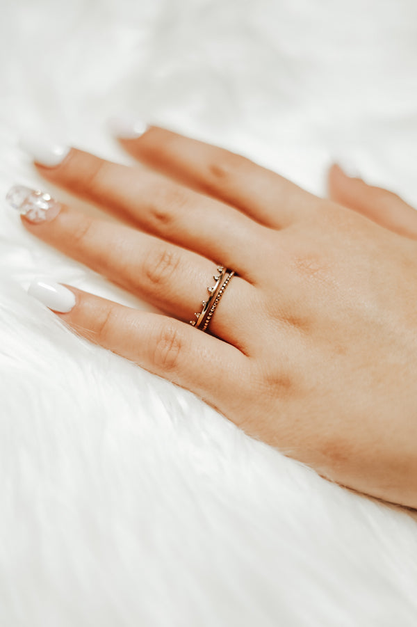 Rhinestone Gold Crown Ring