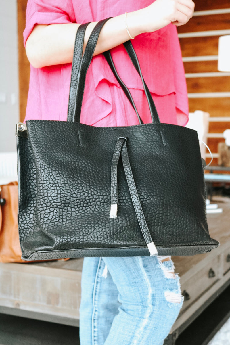 Black Wrinkled Leather Purse