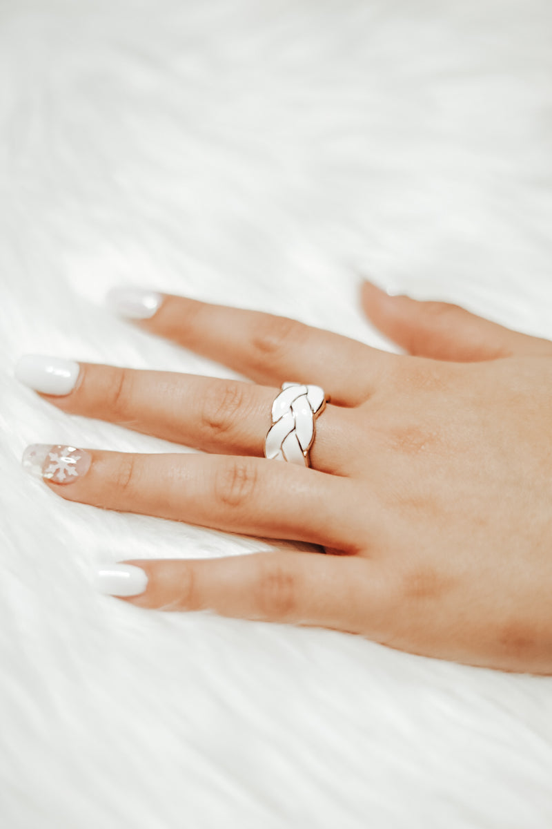 White Braid Ring