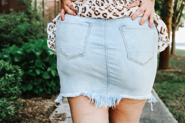 Lyla Frayed Denim Skirt