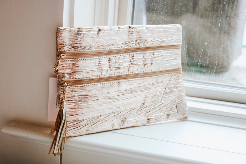 Crinkled Rose Gold Clutch