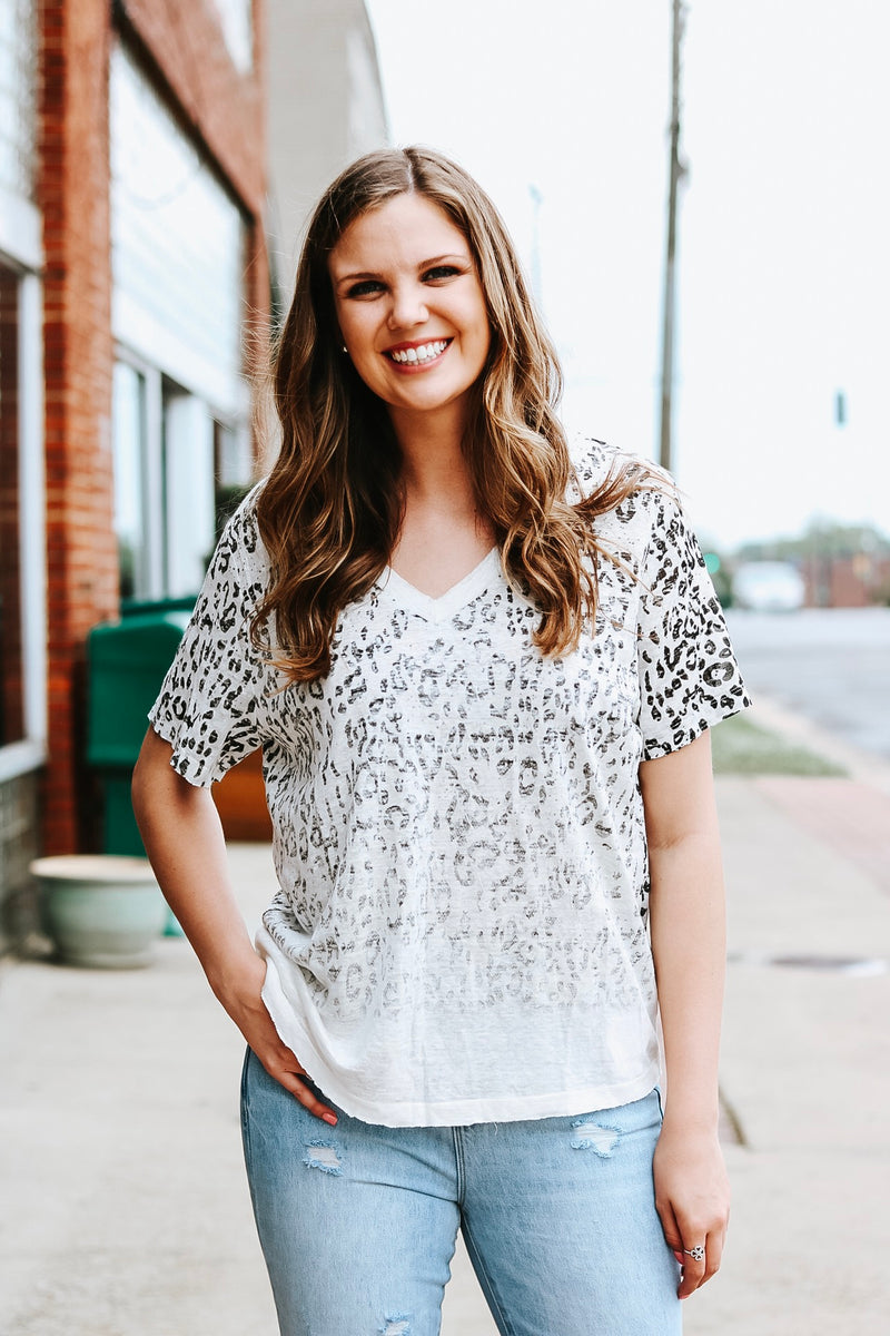 Distressed Snow Leopard Top