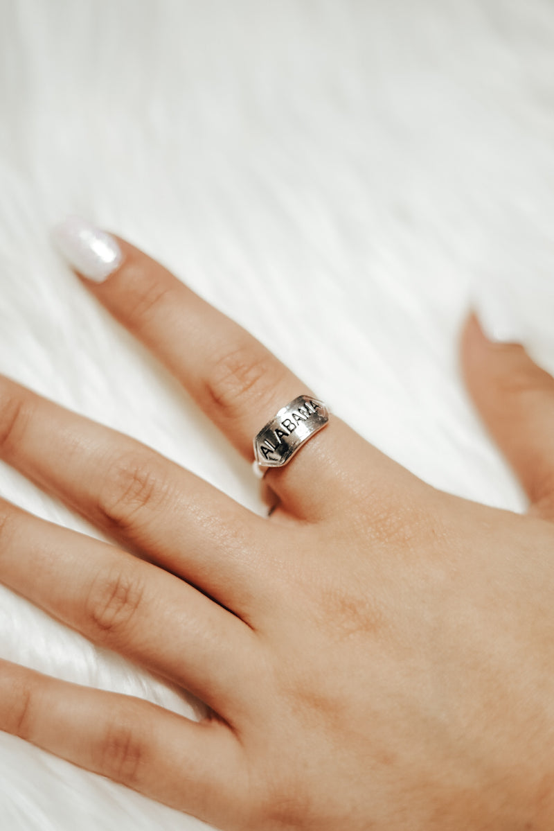 Adjustable Silver Alabama Ring