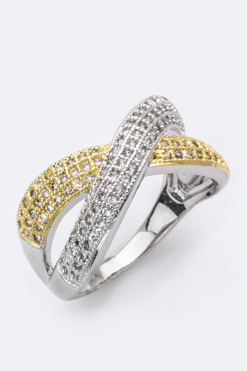 Gold and Silver Criss Cross Ring