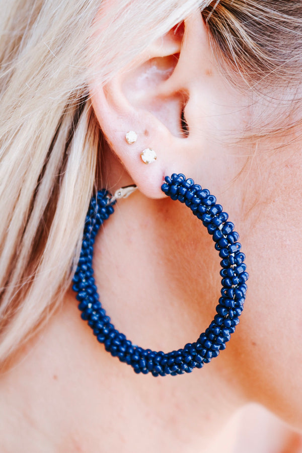 Navy Nora Hoops