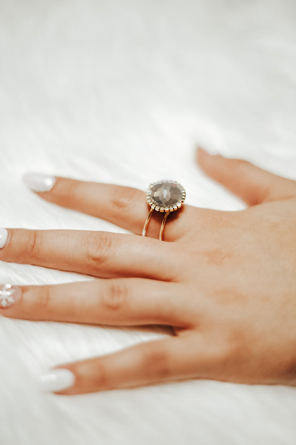 Grey Sphere Beaded Ring