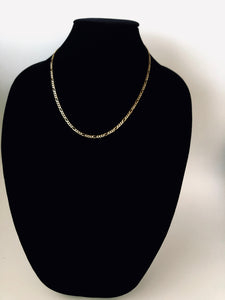 Paved Two Color Gold Figaro Chain