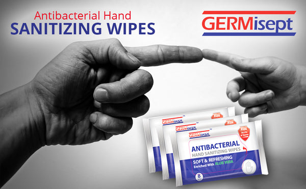 Germisept Antibacterial Hand Sanitizing Wipes -  Handy, Portable & Convenient Travel Packs