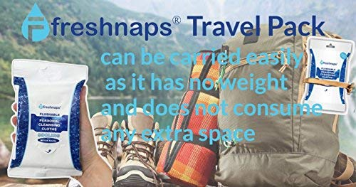 FreshNaps Travel Packs - Flushable Personal Cleansing Wipes with Cooling Witch Hazel