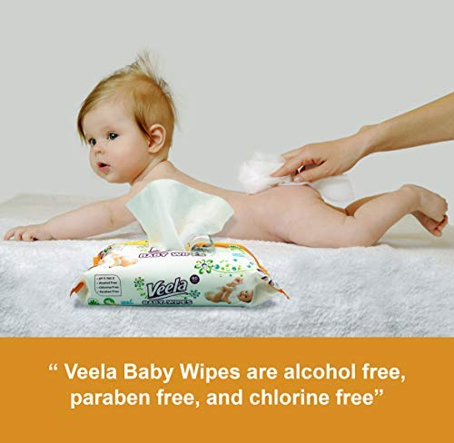 Veela Baby Wipes with Aloe Vera - 80 Per Pack Soft Packs